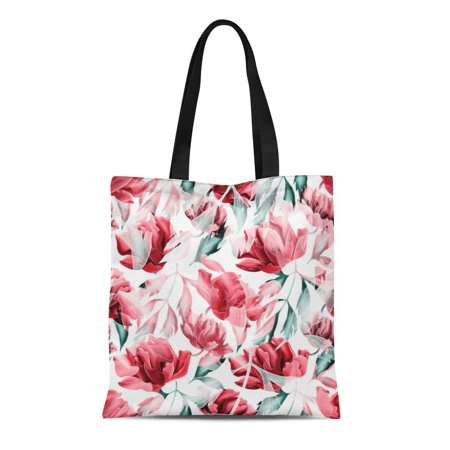 NUDECOR Canvas Tote Bag Colorful Feminine Tropical Flower Plant and Leaf Pattern Green Reusable Shoulder Grocery Shopping Bags Handbag - image 1 of 1