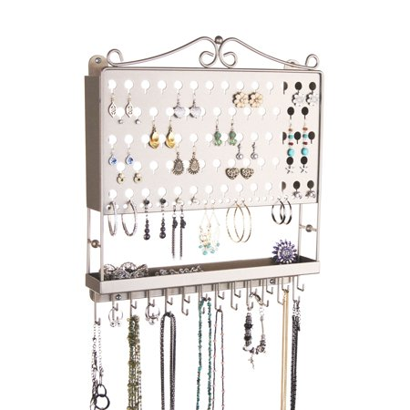 Angelynn S Jewelry Organizers Wall Mounted Organizer Hanging Earring Holder Necklace Rack Closet Storage Accessory Angel Satin Nickel