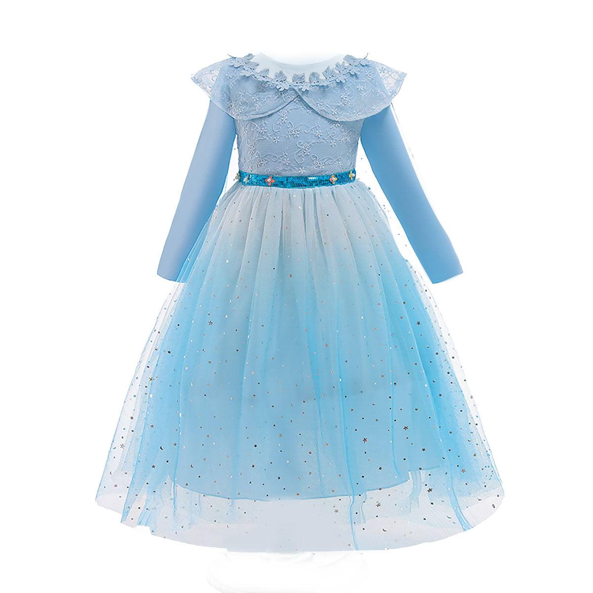 Details about  /Girls Princess Dress Elsa Queen Fancy Sequin Dress Up Costume Party Wedding New