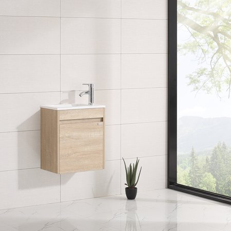 Walcut 16'' New Modern Design Wood Color Bathroom Vanity Cabinet with Undermount Resin Sink Modern Wood Bathroom Vanity