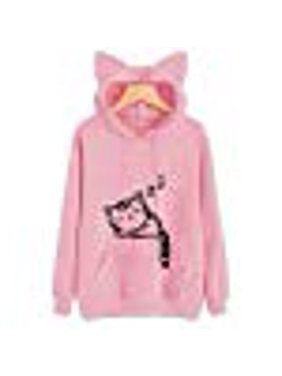 4a8d870ec40bdd Product Image Fancyleo Women's Cute Cat Ears Hoodie Sweatshirt Casual  Pullover Top with Pocket(M Pink)