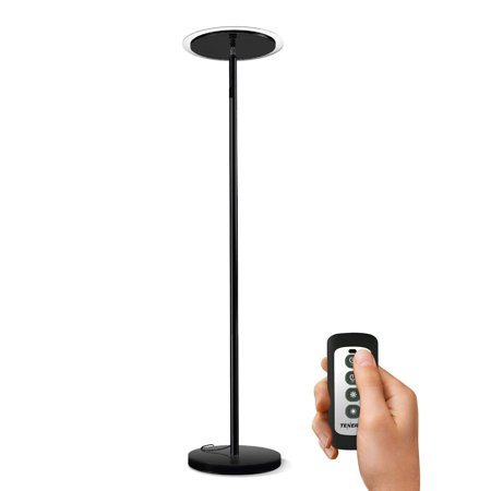 - Tenergy Torchiere Dimmable LED Floor Lamp, Remote Controlled 30W (150W Equivalent) Standing Lamp with Stepless Touch Dimmer, Two-Part Trip-Proof Cable, 90° Adjustable Top, Warm White Light