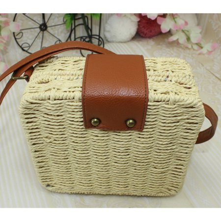 Womens Straw Bag Woven Handbag Purse Crossbody Boho Beach Summer Tote Purse Gifts Beige