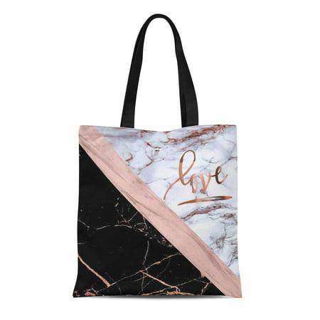 ASHLEIGH Canvas Tote Bag Pink White Rose Marble Love Gold Black Stripe Reusable Handbag Shoulder Grocery Shopping Bags