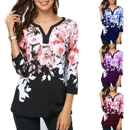 Women's Fashion Split Neck Printed Three Quarter Sleeve Blouse Three Quarter Sleeve Blouse