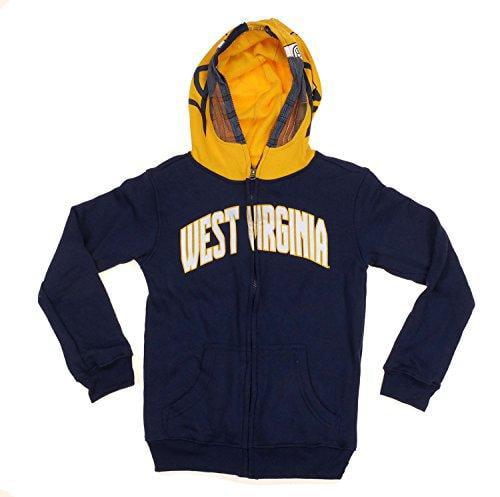 West Virginia Mountaineers NCAA Youth Boys Zip Helmet Hoodie - Navy / Yellow