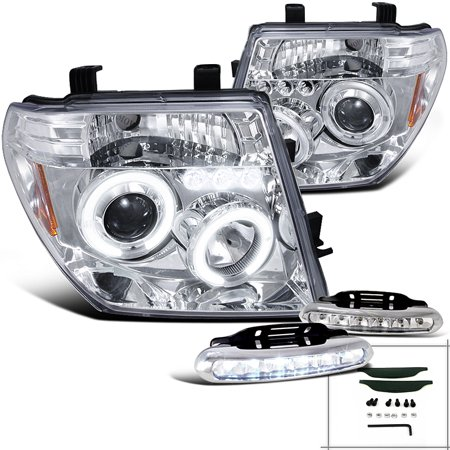 Spec-D Tuning For 2005-2008 Nissan Frontier 2005-2007 Pathfinder Halo Projector Headlights Chrome + Led Lamps (Left+Right) 2005 2006 2007 -