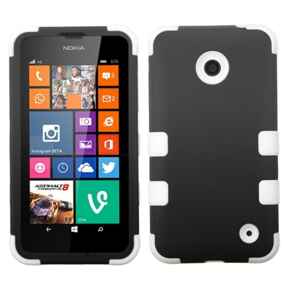 Insten Black Solid White Tuff Hybrid Rugged Hard Shockproof Phone Protector Case For Nokia Lumia 630 635