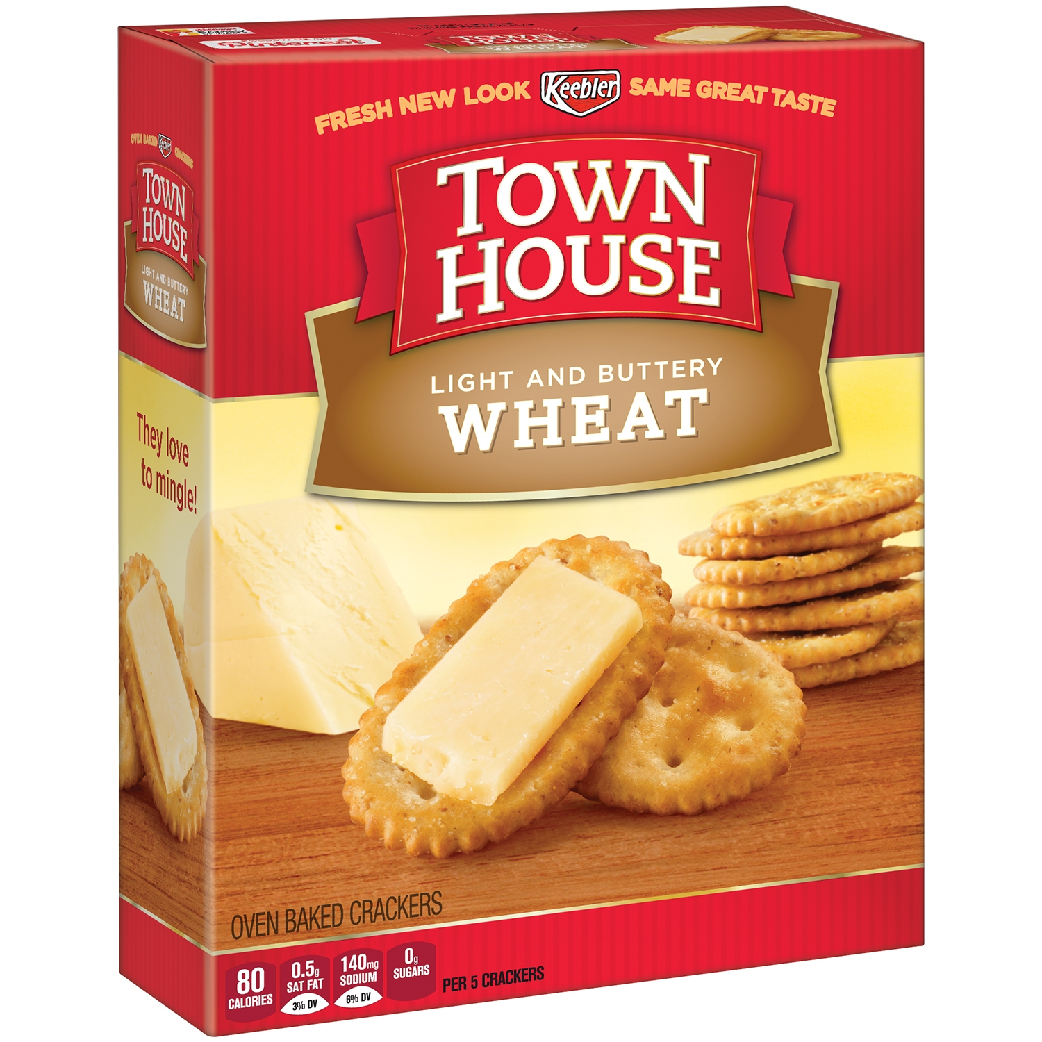 Keebler Town House Light Buttery Crackers Wheat, 13.8 OZ
