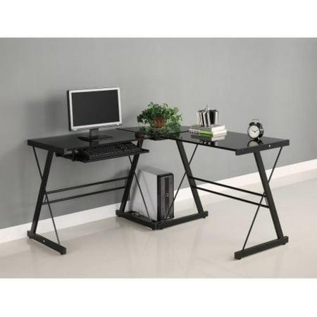 Walker edison soreno 3 piece corner desk black with black glass - Corner table walmart ...