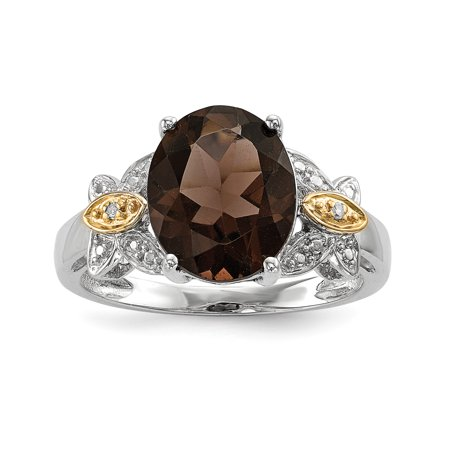 925 Sterling Silver 14k Smoky Quartz Diamond Band Ring Size 8.00 Stone Gemstone Fine Jewelry For Women Gifts For Her - image 9 of 9