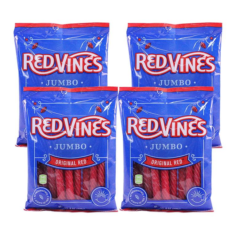 (3 Pack) Red Vines, Jumbo Original Red Licorice Candy, 8 Oz