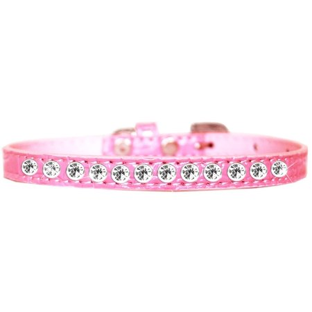 One Row Clear Jewel Croc Dog Collar Light Pink Size 10