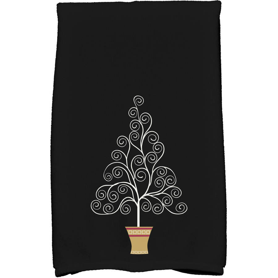 Filigree Tree Geometric Print Kitchen Towel by E By Design