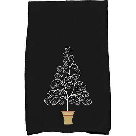 Holiday Essence Filigree Tree Geometric Print Kitchen Towel