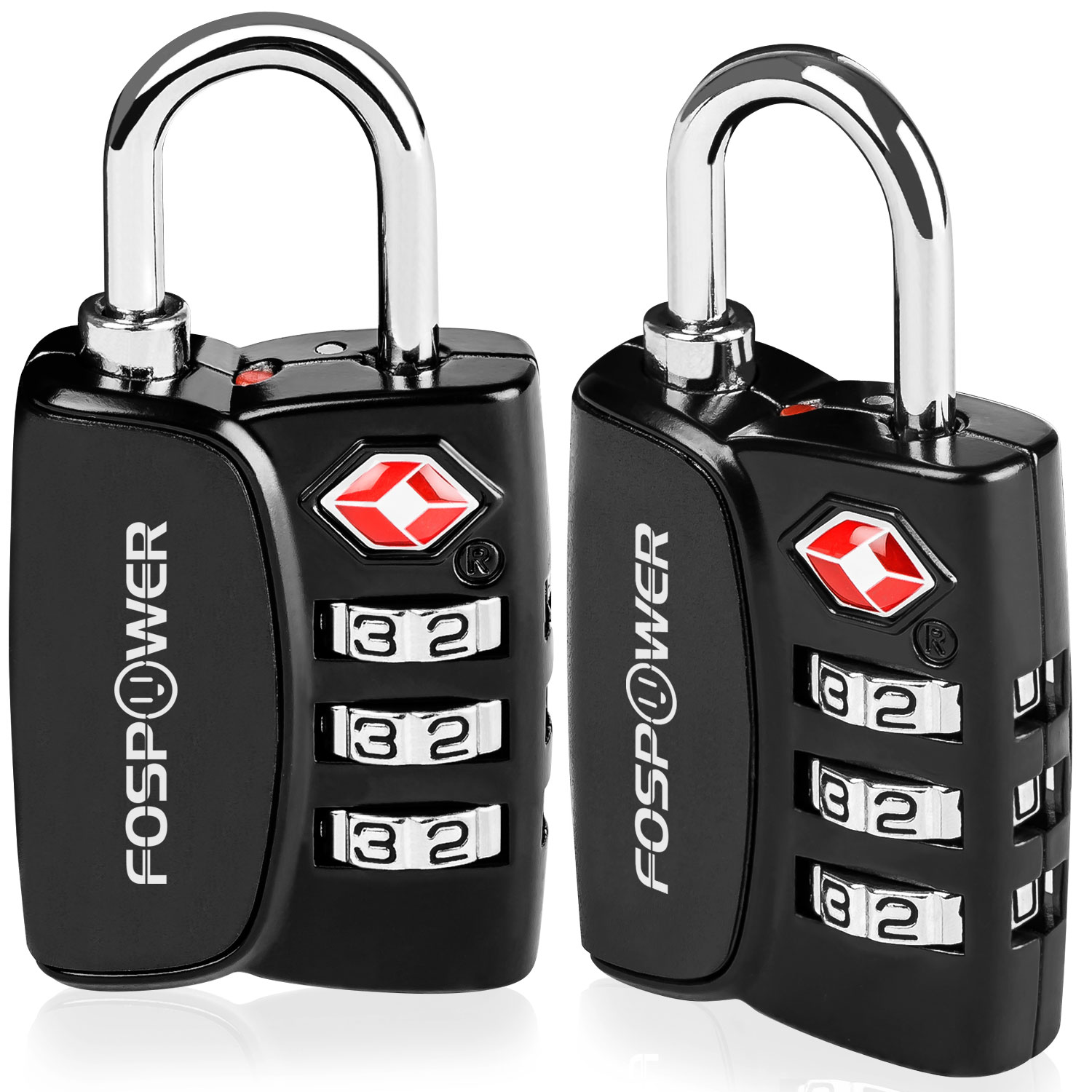 Luggage Locks TSA Approved, FosPower (2 Pack) Open Alert Indicator 3 Digit Combination Padlock with Alloy Body for Travel Bag, Suitcase, Lockers, Gym, Bike Locks or Other