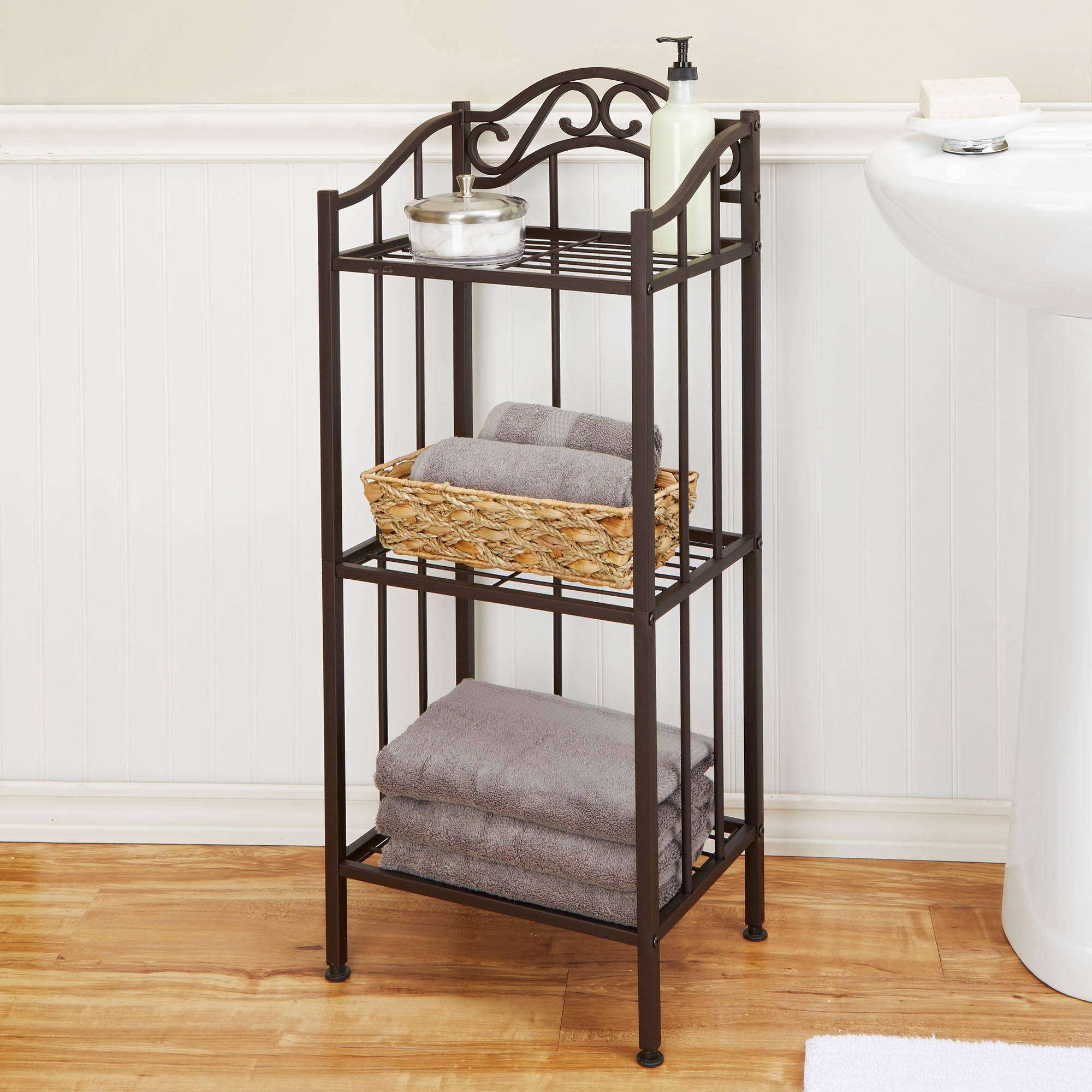 Chapter Metal Bathroom Floor Shelf, Oil-Rubbed Bronze