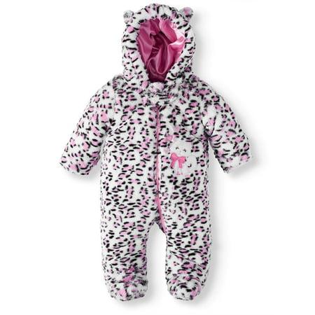 01d2960ee Duck Duck Goose - Leopard Eared Hooded Faux Fur Padded Pram (Baby Girls) -  Walmart.com