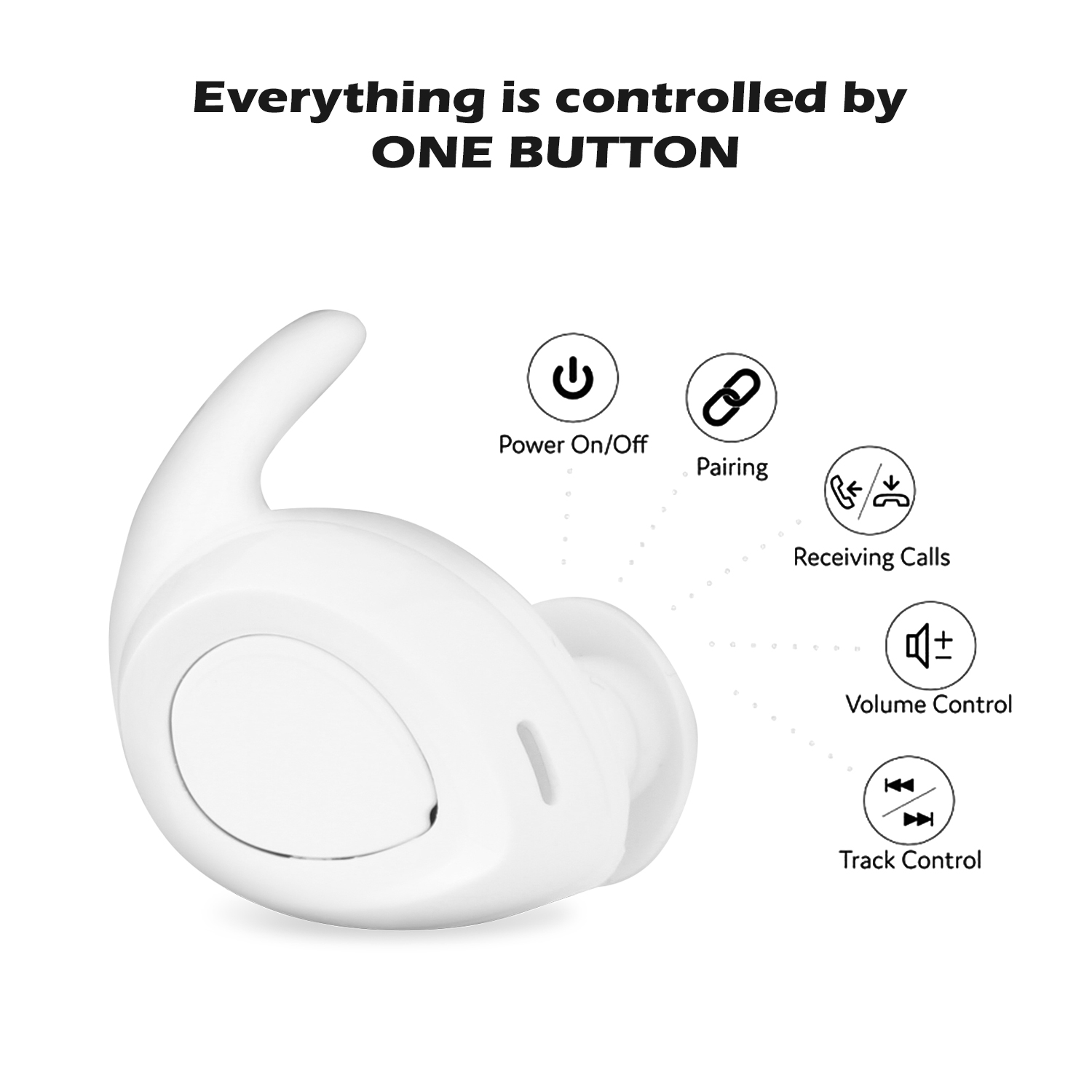 AGPtek Mini Wireless Twins Earbuds Mic True Bass Stereo In-Ear TWS Earphones-White