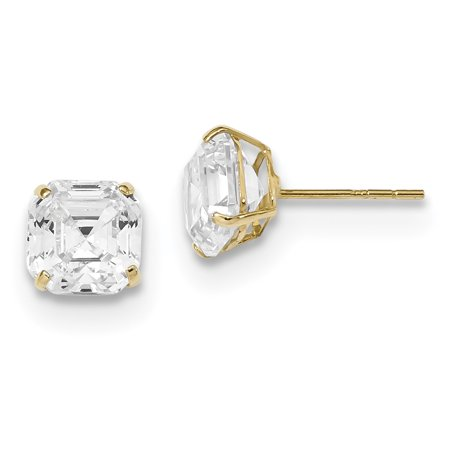e76688eab IceCarats - 14k Yellow Gold 7x7 Asscher Cut Cubic Zirconia Cz Studs Post  Stud Earrings Gifts For Women For Her - Walmart.com