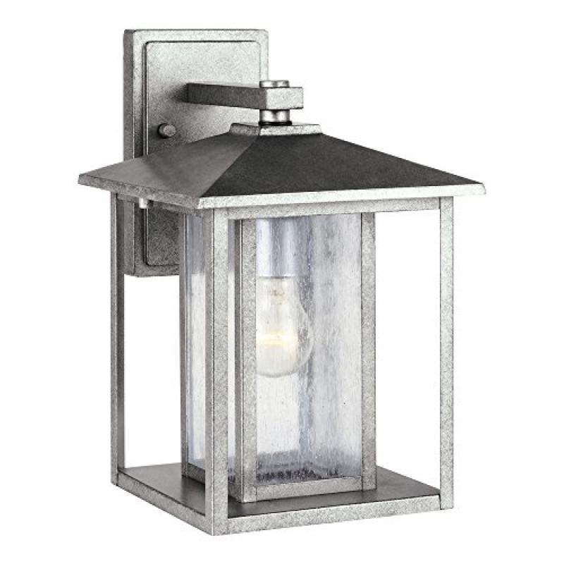 Sea Gull Lighting 88027-57 Hunnington One-Light Outdoor Wall Lantern with Clear Seeded Glass Panels, Weathered Pewter Finish