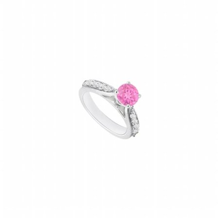 - 14K White Gold Pink Sapphire & Diamond Engagement Ring, 0.80 CT - Size 8.5
