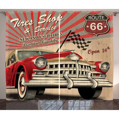 Cars Curtains 2 Panels Set, Tires Shop and Service Route 66 Emblem Advertisement Retro Style Poster Print, Window Drapes for Living Room Bedroom, 108W X 84L Inches, Red Grey Sepia, by Ambesonne