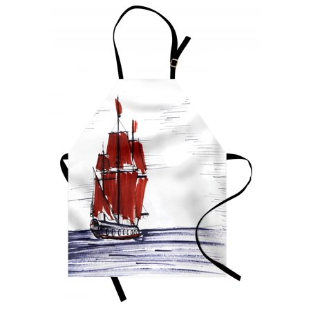 Sketchy Apron Sailing Ship Floating on the Sea Drawing Style Nautical Maritime Theme, Unisex Kitchen Bib Apron with Adjustable Neck for Cooking Baking Gardening, Dark Purple Ruby Black, by Ambesonne ()