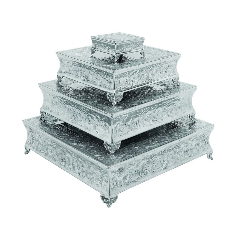 Woodland Imports 15948 Silver Square Aluminum Cake Stand (Set of 4) by Woodland Imports