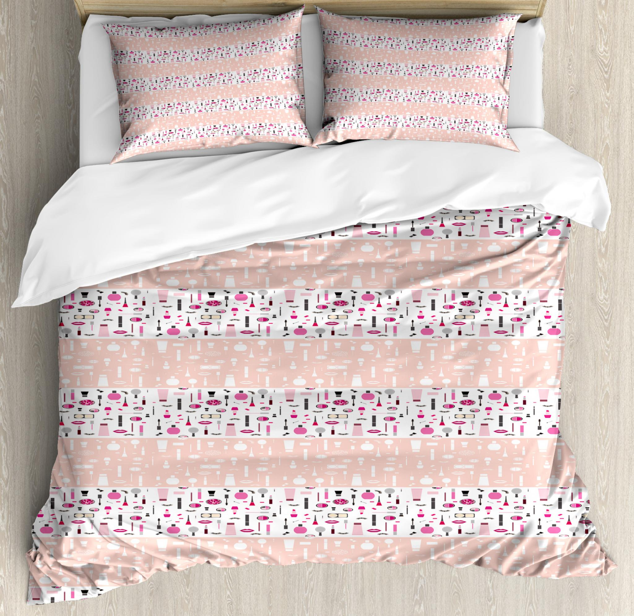 Makeup Duvet Cover Set Queen Size, Makeup Beauty Concept Silhouette Lipstick Eyeliner Mascara Pattern, Decorative 3 Piece Bedding Set with 2 Pillow Shams, Blush Hot Pink and White, by Ambesonne