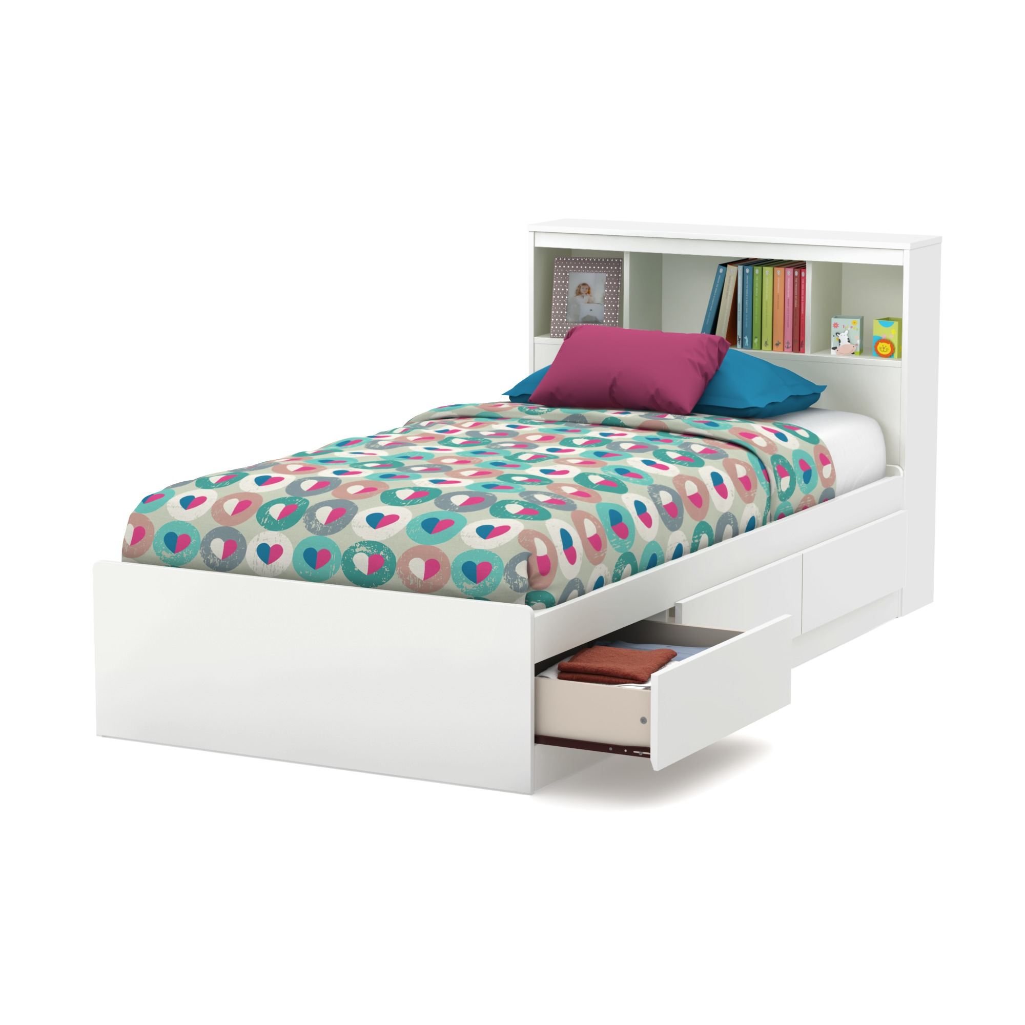 South Shore Reevo Mates Bed With Bookcase Headboard