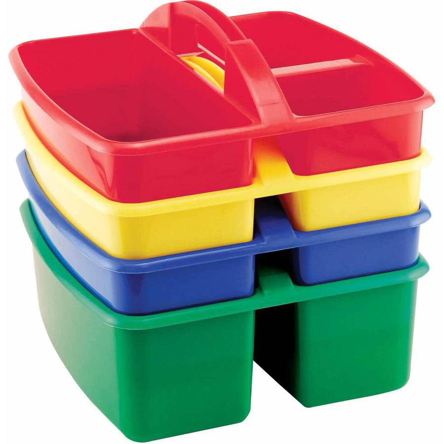 School Specialty Small Handled Plastic Art Caddy, Multiple Sizes, Pack of 4