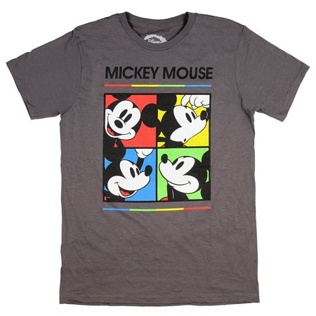 Disney Mickey Mouse Shirt Rainbow Color Grid With Expression Licensed Graphic Adult Men's -