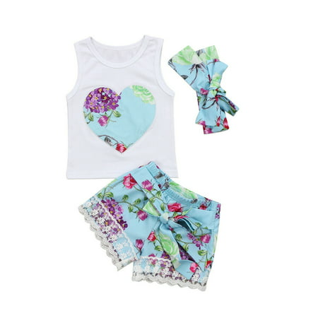 3PCS Toddler Kids Baby Girls Top + Shorts Outfits Summer Clothes Set 12-18 Months