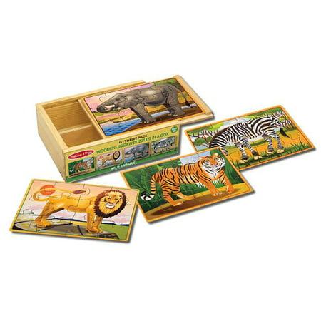 - Melissa & Doug Wild Animals 4-in-1 Wooden Jigsaw Puzzles in a Storage Box, 48pc