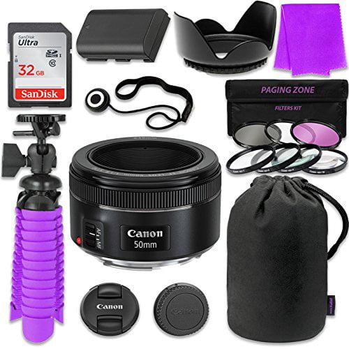 Canon EF 50mm f/1.8 STM Lens Bundle w/ SanDisk 32GB Memor...