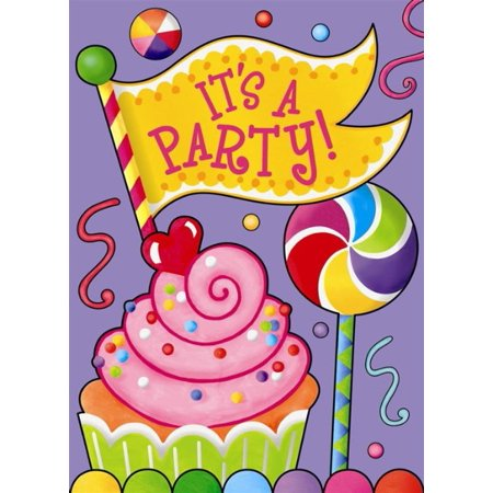 happy birthday candy party invitations w envelopes 8ct