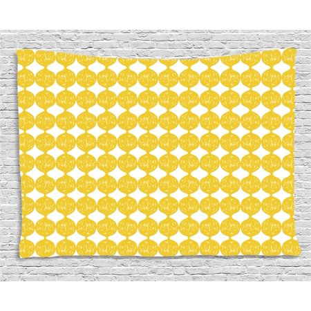 Lemons Tapestry, String Out Interconnected Hand Drawn Lemon Figures Forming Ogee Pattern, Wall Hanging for Bedroom Living Room Dorm Decor, 60W X 40L Inches, Earth Yellow and White, by Ambesonne
