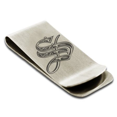 Laser Engraved Money Clip - Stainless Steel Letter S Initial Royal Monogram Engraved Engraved Money Clip Credit Card Holder