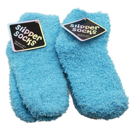 Light Blue Colored Fuzzy Slipper Socks (2 Pairs, Size 6-8.5)