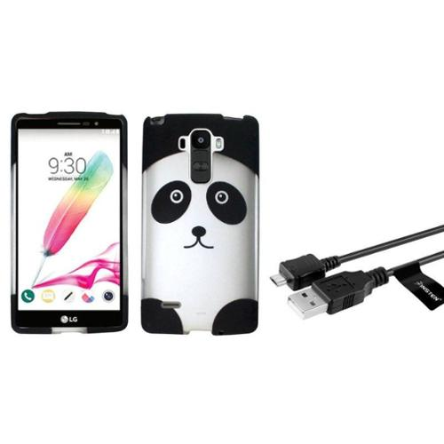 Insten Panda Bear Hard Case For LG G Stylo - Black/White (+Micro USB Data Charging Cable)
