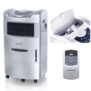 Honeywell CL201AE 470 CFM 280 sq. ft. Indoor Portable Evaporative Air Cooler (Swamp Cooler) with Remote Control and Bonus Replacement Filter, Silver