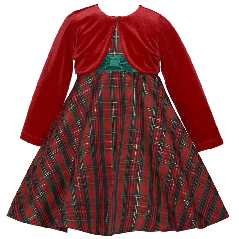 rare editions little girls traditional plaid holiday dress with red cardigan 16 walmartcom - Girls Plaid Christmas Dress