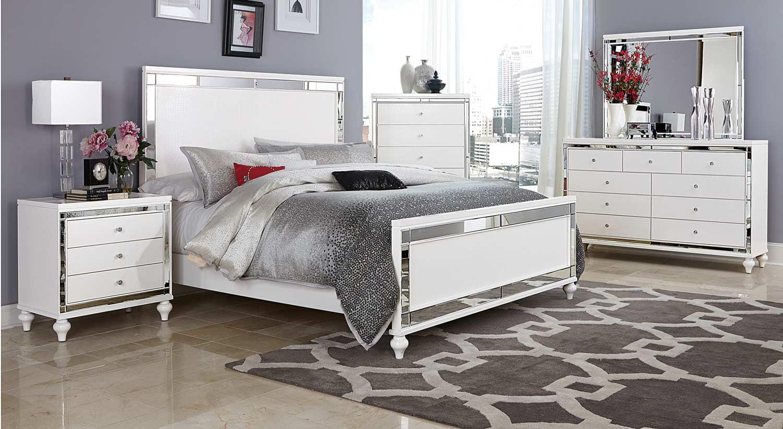 Ashland Queen 5 Piece Bedroom Set with Chest in Modern White Embossed  Alligator & Mirror - Bed, Nightstand, Dresser & Mirror, Chest