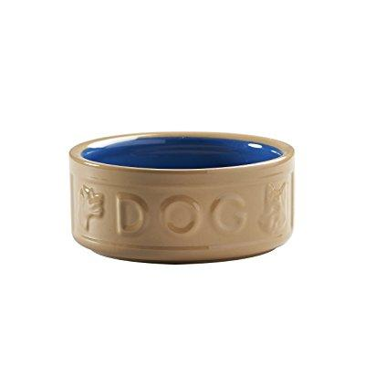 mason cash cane and blue 6-inch lettered dog bowl