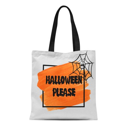 KDAGR Canvas Tote Bag Orange Halloween Please Sign Text Over Brush Paint Abstract Durable Reusable Shopping Shoulder Grocery Bag](Halloween Torte Kuchen)