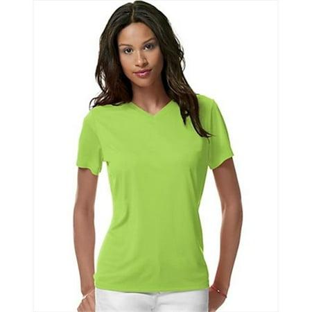 483V Womens Cool Dri V-Neck T-Shirt, Neon Lime Green - Size Medium