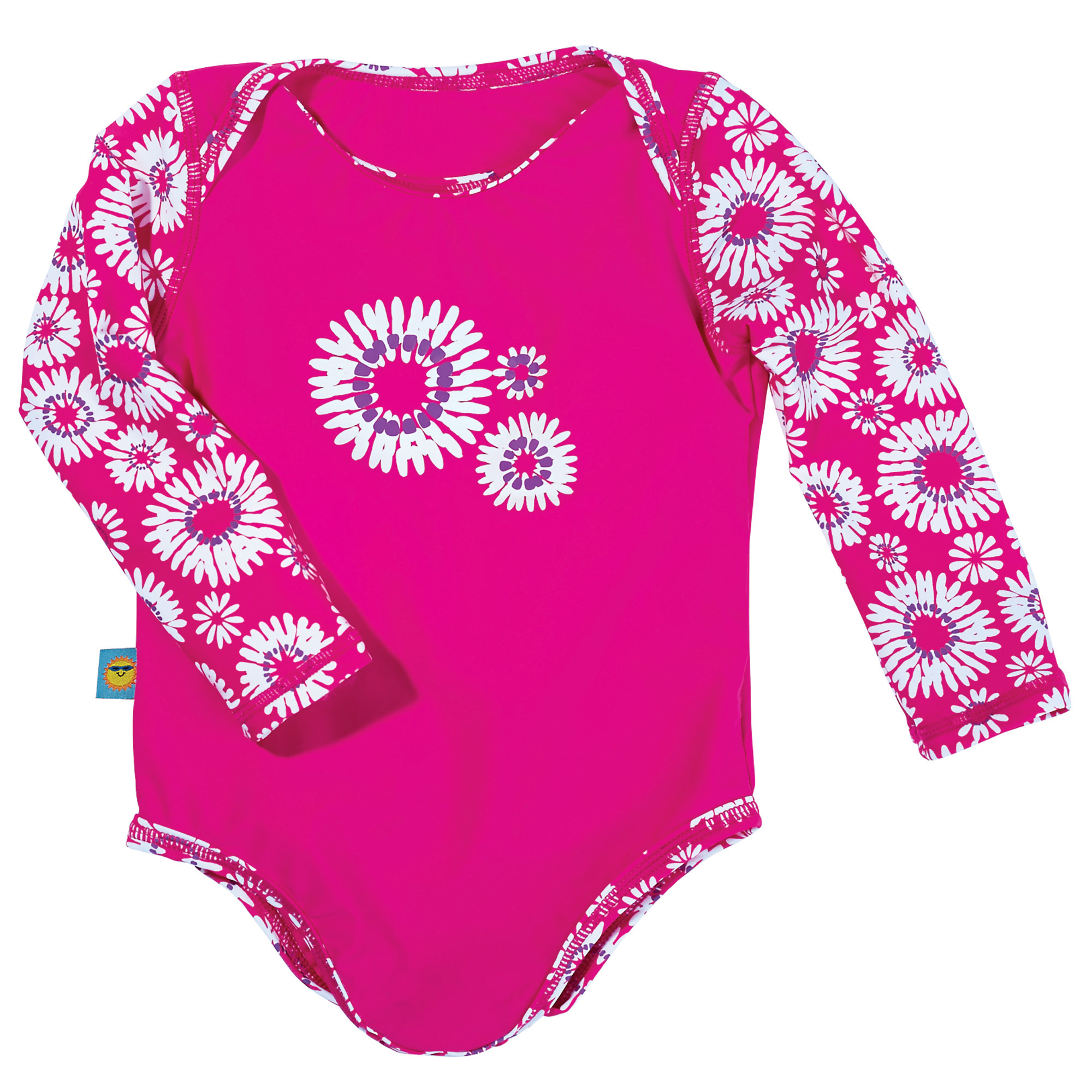 Sun Smarties Baby Girl Swimsuit - Fuchsia Pink Floral Design - UPF 50+ Long Sleeve Sun Protection