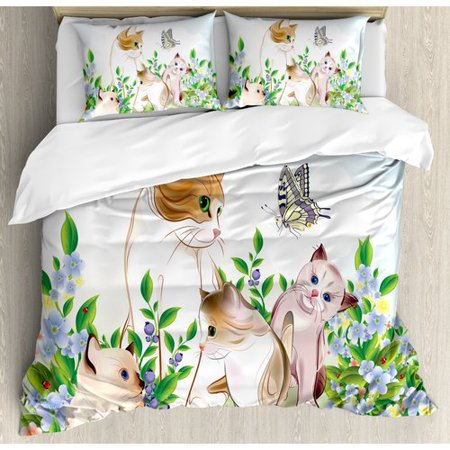 Ambesonne Cat Cute Kittens in Flower Meadow Field Happy Cats Family with Butterfly Kids Cartoon Print Duvet Set