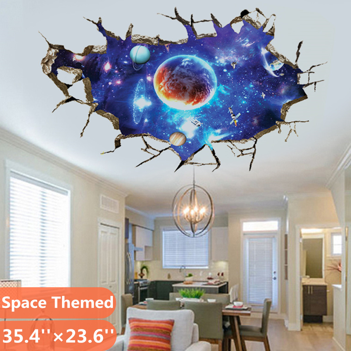Outer Space Themed 10D Wall Sticker - Universe Scene with Planets Stars  Starry Sky - Kids Bedroom Ceiling Living Room Nursery Sticker Decor -